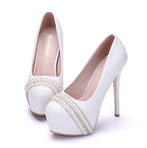 40 Nupcial Talones Blanco Eur Rhinestones Paseo Alto Boda Superficial Corte uk White Mujer Señoras Noche eur39uk665 Nvxie Zapatos Zapatillas Plataforma 7 Fzqatwx