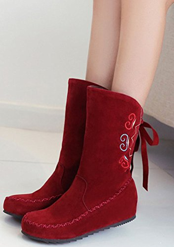 Easemax Women's Comfy Faux Suede Pull On Mid Wedge Heels Inside Round Toe Mid Calf Booties Red YypATLJH