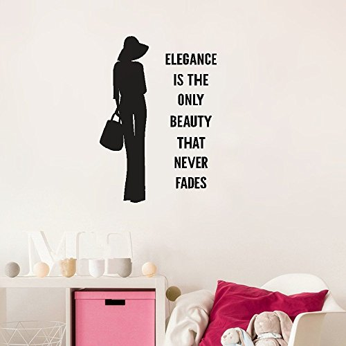 cuyie Wall Decal Quote Words Lettering Decor Sticker Wall Vinyl Elegance is The only Beauty That Never Fades for Girls Room