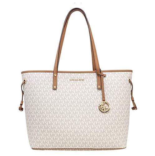 MICHAEL Michael Kors Jet Set Travel Large Tote MK Signature with Pouch - Vanilla (Michael Kors Vanilla Handbags)
