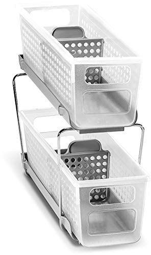 madesmart Mini 2-Tier Organizer with Dividers - Frost, Grey | BATH COLLECTION | Slide-out Baskets with Handles | Space Saving | Multi-purpose Storage | BPA-Free