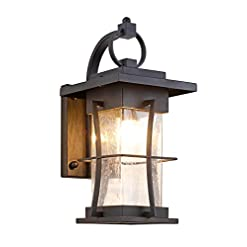 Garden and Outdoor EERU Waterproof Outdoor Wall Sconce Light fixtures, Exterior Wall Lantern Outside Lamps Black Metal with Clear Bubble… outdoor lighting
