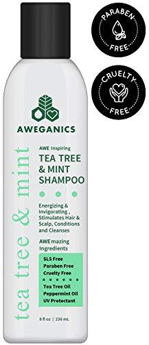 Alcohol Free Shampoo - Aweganics Tea Tree Mint Shampoo - AWE Inspiring Natural Aromatherapy Invigorating Peppermint Shampoos - Cooling, Cleansing, Moisturizing - Alcohol-Free, Paraben-Free, Cruelty-Free, UV Protectant