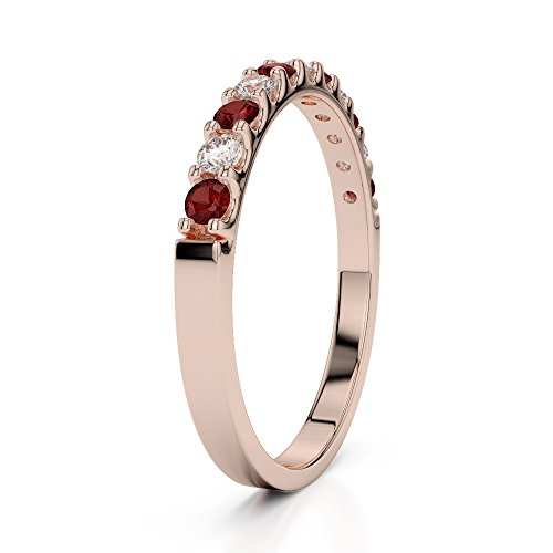 Or Rose 18carats 0,15CT G-H/VS Certifié Coupe ronde Grenat et diamants Agdr-1107