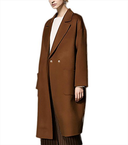 Verde Ispessimento Caramello Giacca Autunno A Doppio Cashmere Inverno face L S Cappotto Lana Lunghi In Vento Donna Xl Capispalla M Colletto Double Outfit Petto Vestiti Caramel Casual qCrwqdntS4