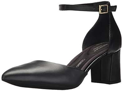 ROCKPORT Women's Total Motion Salima 2 Piece Pump, Black Leather, 5 M US