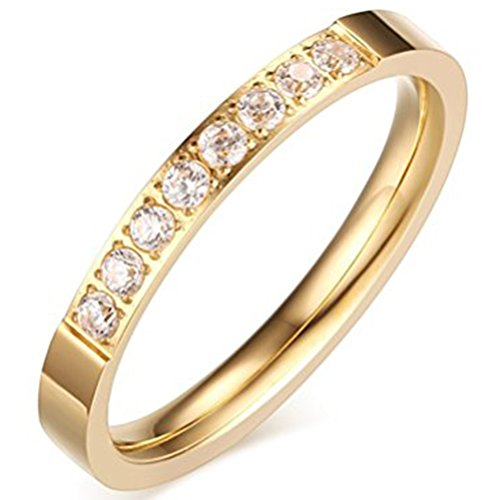 Wholesale Cubic Zirconia Costume Jewelry (Womens Fashion Jewelry 3mm Stainless Steel Gold Thin Wedding Ring Cubic Zirconia Engagement Promise Band Size 3)