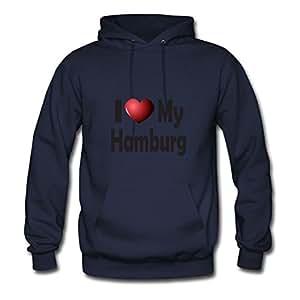 Dorastanl Women I Love My Hamburg Image Styling Funny Navy Hoodies In X-large