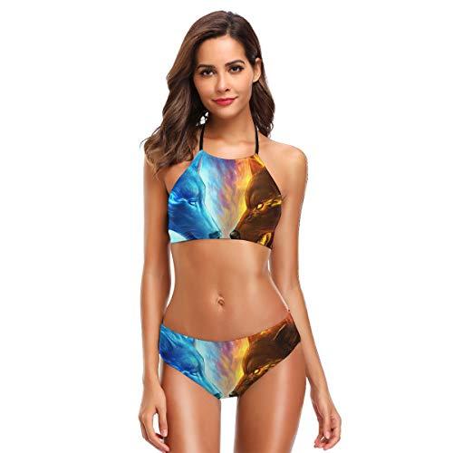 (Ice Vs Fire Wolf Womens Bathing Suits Swim Bottoms Padded Halter Bandage Bikini Two Piece Swimsuits Black)