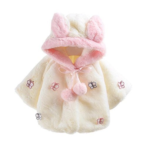 Sunbona Toddler Baby Girls Cute Butterfly Autumn Winter Hooded Coat Jacket Thick Fur Warm Clothes (12~18months, White) ()