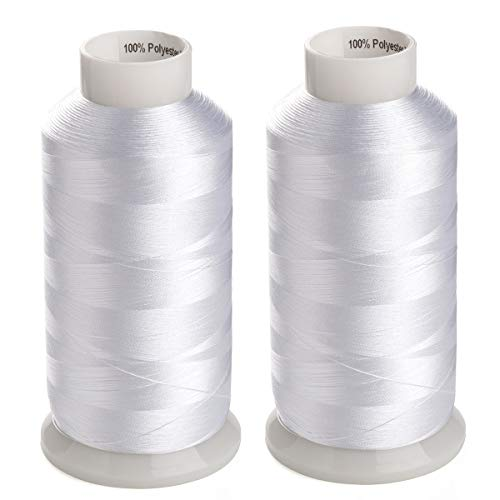 (Simthreads 2 Huge Spools Spools White Bobbin Fill Thread 60WT for Embroidery Machine and Sewing Machine - 5500 Yards Ea )