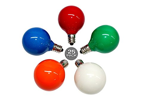 Sunsgne 25PC G40 Bulbs Frosted Multi-Color Globe Bulbs Candelabra Screw Base E12 Light Bulbs, 5W Warm Replacement Glass Bulbs for G40 Strands, UL Listed for Indoor and Outdoor Commercial Uses