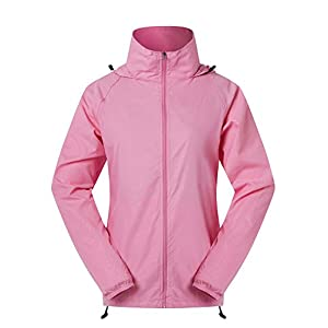 Cheering Women's Lightweight Jackets For Women Waterproof Windbreaker Jacket Super Quick Dry UV Protect Running Coat Hot Pink XXL