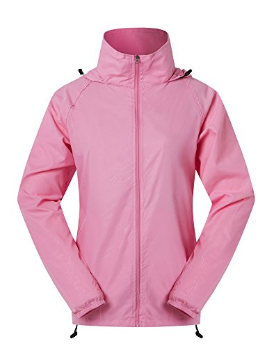 Spmor Women's Lightweight Jackets Waterproof Windbreaker Jacket UV Protect Running Coat XL Hot Pink