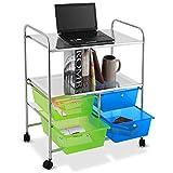 Giantex Rolling Storage Cart w/ 4 Drawers 2 Shelves Metal Rack Shelf Home Office School Beauty Salon Utility Organizer Cart with Wheels