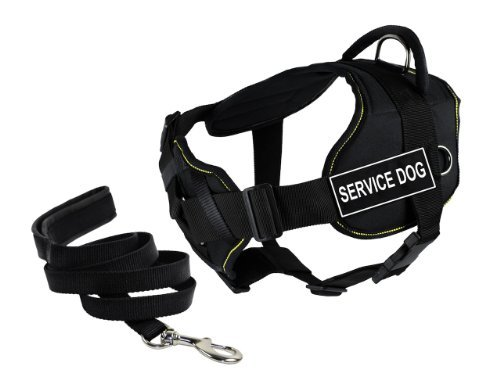 Dean & Tyler's DT Fun Chest Support ''SERVICE DOG'' Harness, X-Large, with 6 ft Padded Puppy Leash. by Dean & Tyler
