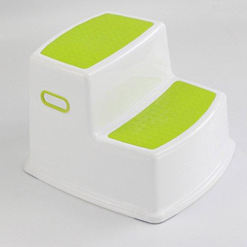 Taburete para niños 2 pasos Lavabo Banco para bebés Baño antideslizante Taburete para pies Plástico (Color : Verde)