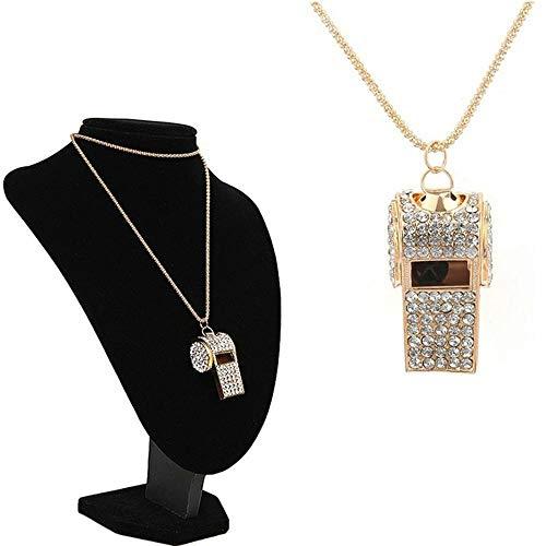 Fashion Costume Pendant Jewelry Whistle Rhinestone Crystal Charm Necklaces