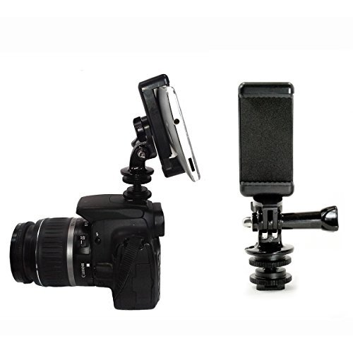 Action Mount - 1/4-20 Inch Tripod Screw to Hot Shoe Adapter with Attachable Phone Mount for use with DSLR Camera. Or Use Hot Shoe Adapter by Itself for Lighting, or Monitor (Black)