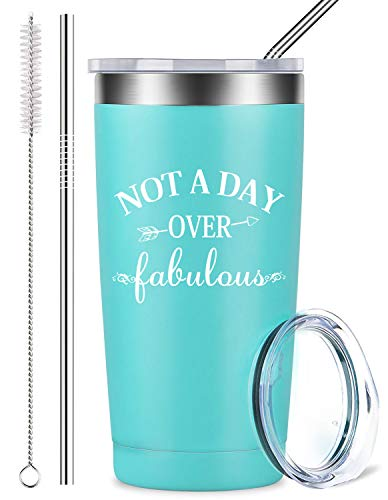Not a Day Over Fabulous - Coffee Mug Tumbler with Lid and Straw - Stainless Steel Insulated Wine Travel Cup - Perfect Birthday, Wedding, Christmas, Mother's Day Gift for Women Friend (20 oz, Blue)