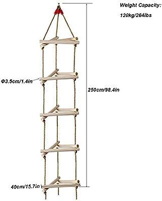 ROCK1ON 5 Pasos Escalera de Cuerda de Escalada para Interiores y ...
