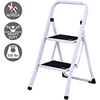Costway 2 Steps Folding Heavy Duty Steel Anti-slip Ladder