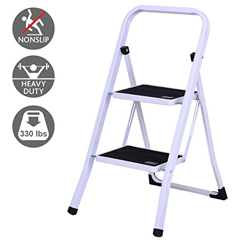 Giantex 2 Step Ladder Folding Steel Step Stool Steel Stepladders with Anti-Slip Heavy Duty with 330Lbs Capacity by Giantex