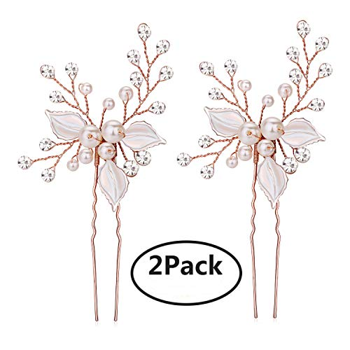 Bridal Rose Pearl - Keklle Rose Gold Wedding Hair Pins Pure Handmade Leaves Design Bridal Hair Pin with Rhinestones and Handmade Pearls Set Of 2 (Rose Gold)