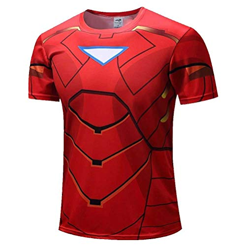 Men's Dri Fit Red Iron Man Workout Tee,Cool Athletic Shirt 3XL