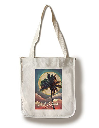 Fort Myers Beach, Florida - Palm and Moon (100% Cotton Tote Bag - Reusable)