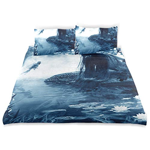 CANCAKA Paradise Duvet Cover Set Paradise Bird Young Fairy Talk Near Design Bedding Decoration Queen/Full Size 3 PC Sets 1 Duvets Covers with 2 Pillowcase Microfiber Bedding Set Bedroom Decor Acces