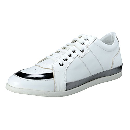 Versace-Collection-Mens-White-Leather-Fashion-Sneakers-Shoes-US-11-IT-44