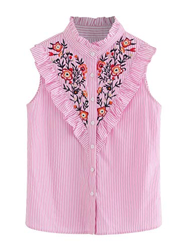 - Floerns Women's Vertical Striped Ruffle Floral Embroidery Blouse Shirts Black and Pink and White XS