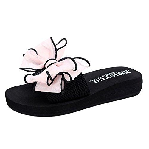 YOUJIA Mujer Boho Flores Zapatillas Verano Playa Plataforma Zapatos de cuña Chanclas #1 Pink