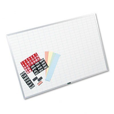 Magna Planning Visual Board - Magna Visual OB-2436B Magna Visual Magnetic Work/Plan Kit, 1x2 Grid, Porcelain-On-Steel, 36x24, BE/WE