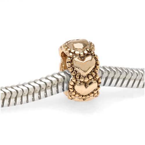- Beadaholique Heart Shaped Large Hole Bead, Fits Pandora, 22K Gold Plated