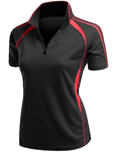 Xpril Coolmax 2 Tone Collar Zipup Polo T-Shirt Black Size L