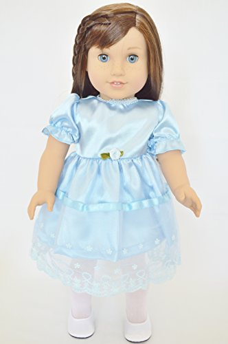 BLUE LACE EASTER DRESS FOR AMERICAN GIRL DOLLS My Twinn Doll Shoes