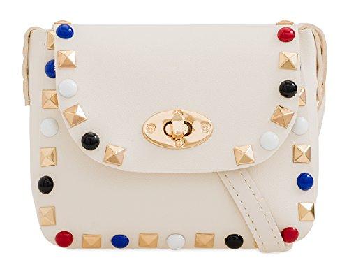 Studded Cute Bag KJD2302 Party Box Messenger Women's Gem Handbag Clutch Evening Purse Party Ladies Coloured White w8Udqw5