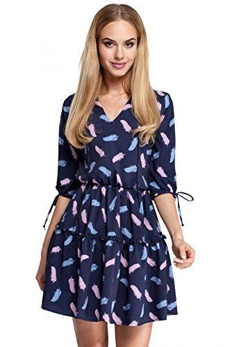 Rüschen Clea mit Boho Modell Modisches zwei Kleid faltigen 3 YYxFwvr