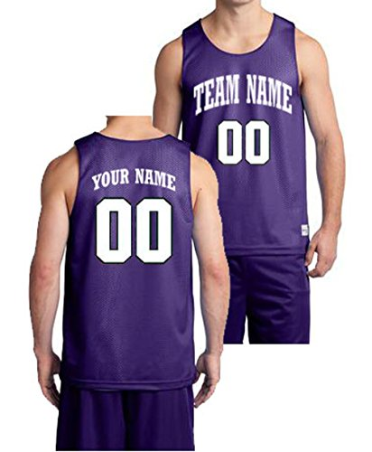 OnTheField Custom Basketball Jersey - Front and Back (Purple, X-Large (with Inside Reversible Customization)