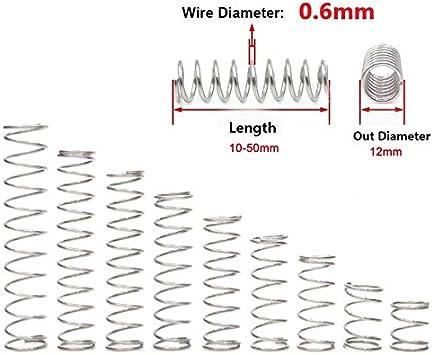 L/änge 10 10 St/ück 45mm Au/ßendurchmesser 12 mm Edelstahl Federspannung 50 mm Nicht korrosiv NO LOGO X-Baofu Druckfeder 304 0,6 mm