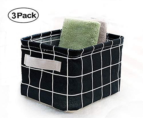AARainbow 3 Packs Storage Basket Bins Canvas Mini Storage Cubes Storage Basket for Makeup, Baby Toys Liners, Books Nursery Storage Baskets with Handles for Shelves & Desks (3 Black)