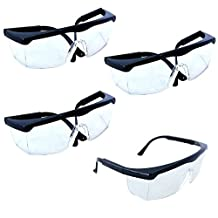 HQRP 4-pack Untinted UV Protection Glasses / Safety Eyewear for Shooting, Gun range, Airsoft, Nerf guns, Racquetball, Water Balloon Fight + HQRP UV Meter