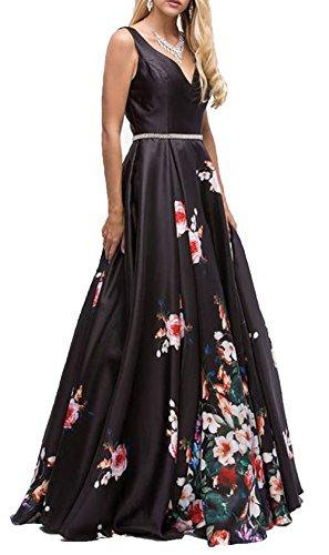 Robes De Bal Brl Centre Imprimé Floral Col V Femmes Du Soir Avec Des Poches Longue Ceinture De Strass Robe De Soirée Formelle Dos Nu Bpm22 Noir
