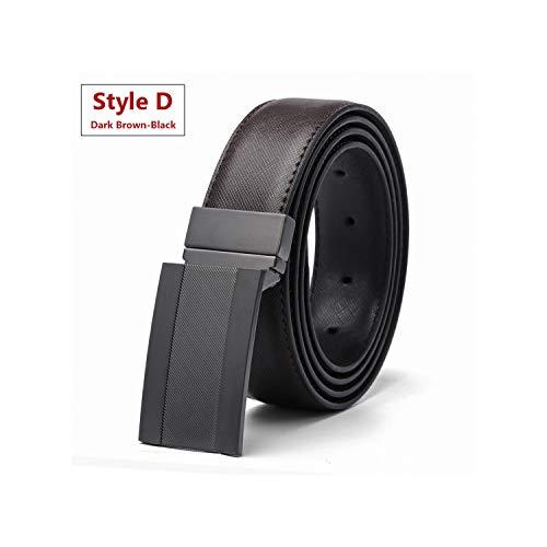 Luxury Leather Belt Men Plate Reversible Buckle Business Dress Belts Black Blue Brown,Style D Dbrown-Black,105Cm 36To39 Inch ()