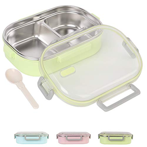 Buringer Lunch Bento Box Insulated Stainless Steel Square Food Storage Container Leakproof with 2 Compartment and Spoon for Kids Woman Man Work or School (Green)
