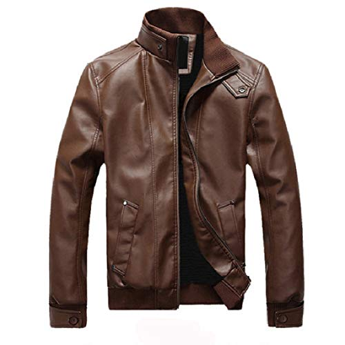 Motorcycle Outwear Thickening Solid Stand Biker Zips Fitted 2 PU Collar with EnergyMen TqESq