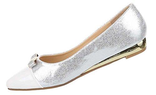 Damen Schuhe Ballerinas Pumps Weiß