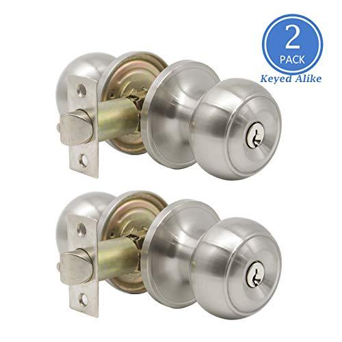 Knobonly 609 Stainless Steel Flat Ball Door Knob Brushed Nickel Finish (2 Pack, Key Alike Entry Door Handles) ()